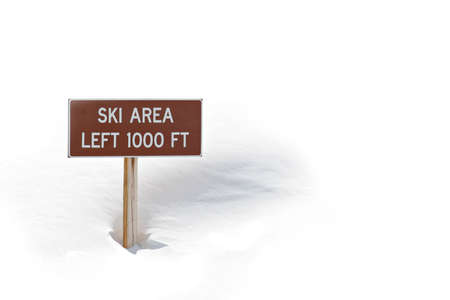 obtain: ski area sign in the snow, left 1000 feet. full frame, blown highlights to obtain white background.