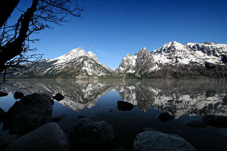 jenny: grand tetons in the early morning as seen from jenny lake. grand teton national park, wyoming.