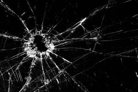 glass broken: Vidrios rotos - agrietados con m�s de agujero negro