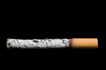 wasted: cigarette macro - burnt up and isolated over black