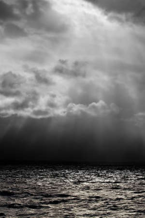 waters: Dark, mysterious, and uninviting waters. Black and white. Stock Photo