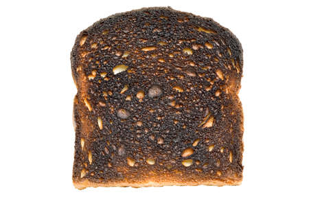 burnt toast: burnt toast closeup, isolated on white