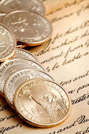 dollar coins: dollar coins macro, limited dof with focus on lady liberty in front