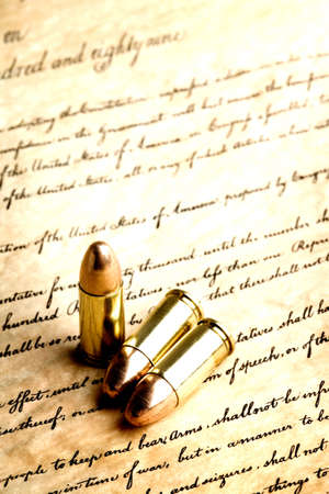 bullets on the bill of rights - high contrast macro, focus on tips and line underneath indicating  Stock Photo