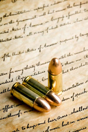 bullets on the bill of rights - the right to bear arms. macro with limited dof, focus on tips and  photo