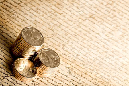 dollar coins: US dollar coins on constitution, macro with limited dof