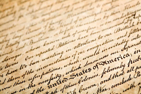 declaration: declaration of independe, horizontal background, macro with shallow dof and focus on  Stock Photo