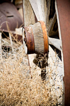 axle: old wagon wheel close up, limited dof, focus on axle Stock Photo