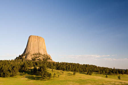 devils tower national monument in northeast Wyoming with copyspace photo