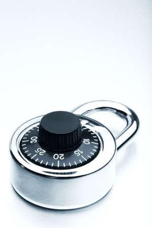 highkey: lock highkey closeup - padlock on brushed metal