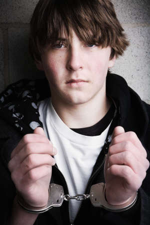handcuffed teen portrait close up Stock Photo - 2548443