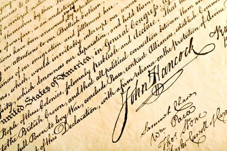 john hancock: Declaration of Independence closeup with focus on signature of John Hancock