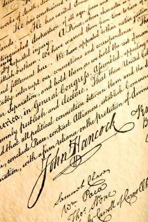 declaration: John Hancock signature on United States Declaration of Independence, closeup Stock Photo