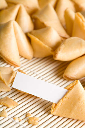 bad fortune: fortune cookies - one cookie open with blank fortune for your text. Entire text area in focus.