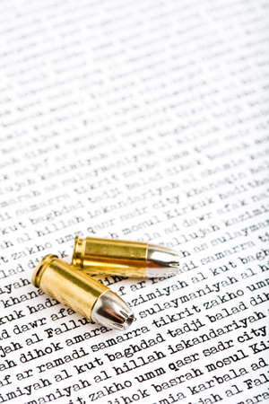 anti war: bullets closeup over major Iraqi cities on white as background Stock Photo