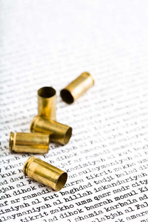 middle east crisis: bullet shells closeup over the major Iraqi cities Stock Photo