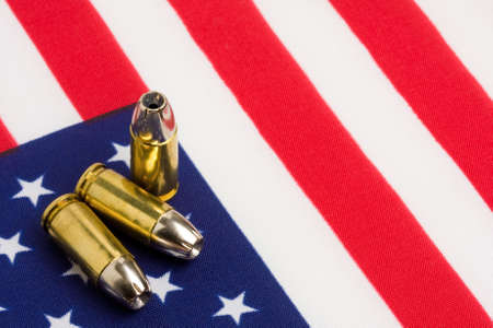 bullets 9mm closeup over US flag Stock Photo - 2929445