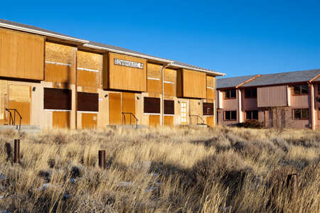 fled: Abandoned townhouses in Jeffrey City, Wyoming - a Uranium-mining boomtown established around 1957, it went bust when the mine shut down in 1982 and 95% of its population fled the city.