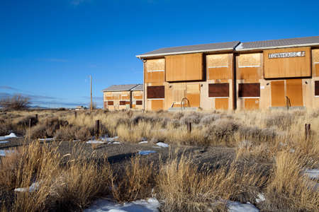 fled: Abandoned town in Wyoming. Jeffrey City, Wyoming - a Uranium-mining boomtown established around 1957, it went bust when the mine shut down in 1982 and 95% of its population fled the city.