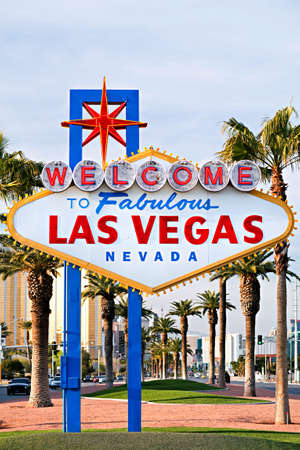 las vegas lights: Welcome to Las Vegas sign - iconic sign on the strip in Las Vegas, Nevada Stock Photo