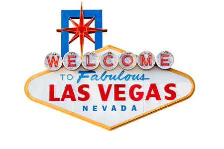 las vegas sign on the city strip - isolated on white