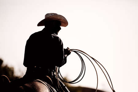 cowboy on horse: cowboy on horse with lasso at the rodeo - silhouette with added grain