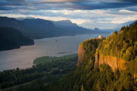 Oregon landscape - Crown Point overlooking the Columbia River and the Gorge Stock Photo