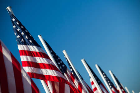 clear day: USA flags - vibrant American flags in a row under clear blue sky Stock Photo