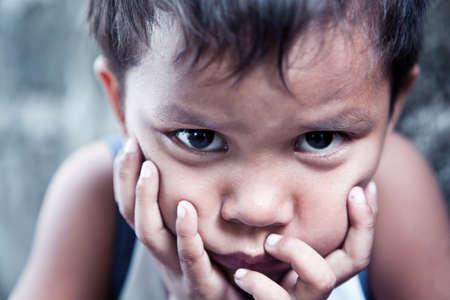 filipino: Asian boy portrait - Filipino child contemplating closeup, shallow dof