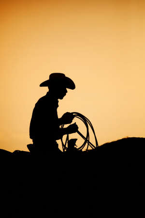 cowboy on his horse at a small town rodeo at sunset. Note slight added grain. photo