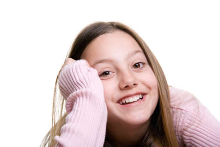 preteen: smiling young girl, a happy pre-teen portrait isolated on white