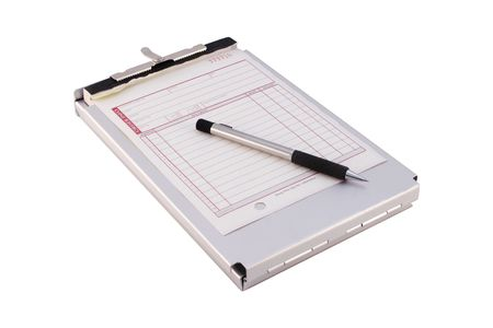 Isolated Folding Clipboard With Sales Order Form