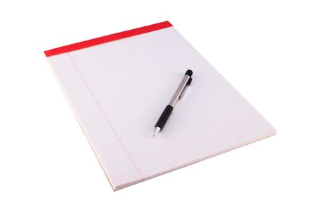 legal pad: Legal pad and mechanical pencil Isolated on White Stock Photo