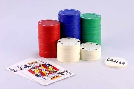 big slick: Poker Chips with Dealer Button and Big Slick