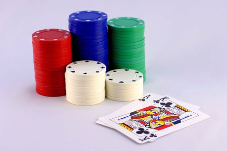 slick: Poker Chips with Big Slick of Clubs