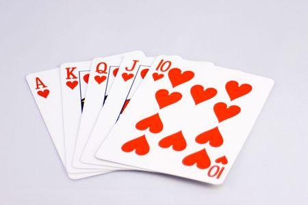 Straight Royal Flush of Hearts Stock Photo - 297364