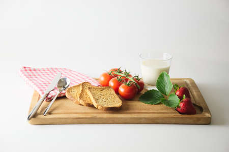 cutting boards: Breakfast on cutting boards like country style
