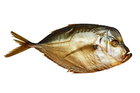 Smoked moonfish isolated on white with clipping path