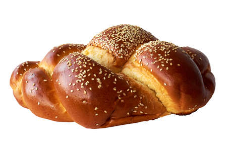 Challah bun isolated on white background