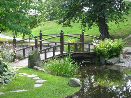 a bridge in japaneese garden