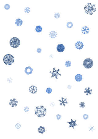 include: a background made of snowflakes, collection include 79 snowflakes