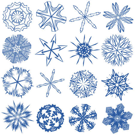 a set of 16 snowflakes Vector