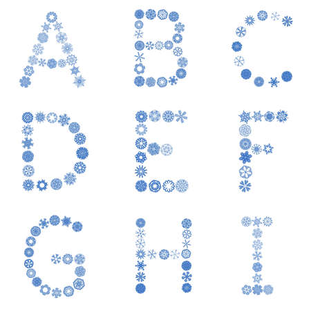 an alphabet made of snowflakes photo