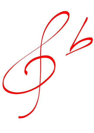 red hand-written G clef and flat sign Vector