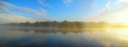 morning fog on the river Dnepr before fishing