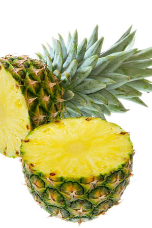 Cut pineapple isolated on a white background. Stock Photo