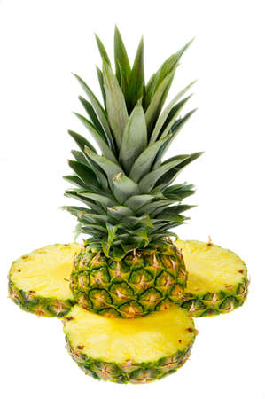 A cut pineapple isolated on a white background. Stock Photo