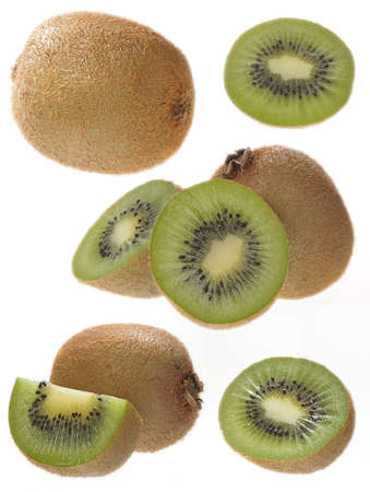 Fresh kiwi fruits isolated on white background  Stock Photo