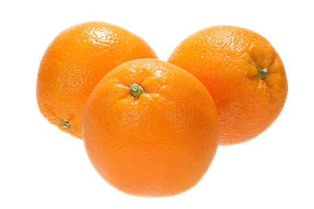 Three fresh premium orange on white Stock Photo