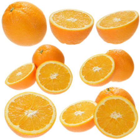 Set of fresh orange fruits isolated on white background